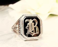 "Antique Art Deco Ostby Barton Maltese Cross Ring Historical OB Initial ""B"" Onyx…"
