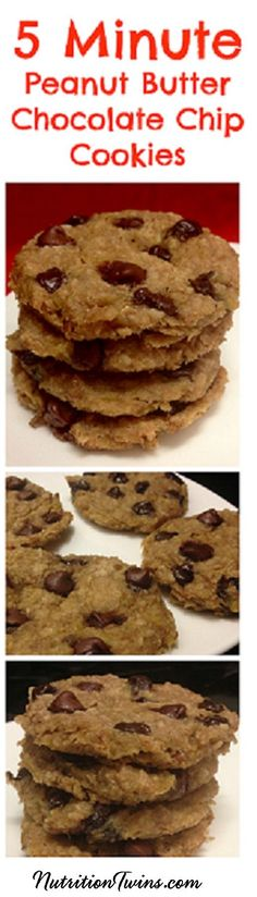 Microwave Peanut Butter Chocolate Chip Cookies | Only 89 Calories | Make in 5 Minutes with 5 ingredients you already have at home | Healthy, you'd never know they don't even have sugar |For MORE RECIPES like this & tips please SIGN UP for our FREE NEWSLETTER www.NutritionTwins.com
