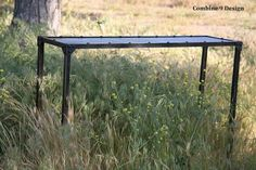 "Vintage Industrial Console Table. Steel urban by leecowen on Etsy. $425, 45""x12.5""x30""h"