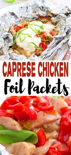 Toss these Caprese Chicken Foil Packets in the oven or on the grill for an easy dinner. They're great for a make-ahead camping meal, too! 307 calories and 5 Weight Watchers SP | For The Grill | Campfire | Healthy | Easy | Italian | Balsamic  #capresechicken #foilpackets #grilledchicken #weightwatchers