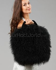 Large Mongolian Lamb Fur Handbag   Purse - Black Fur Purse 3be7384013981