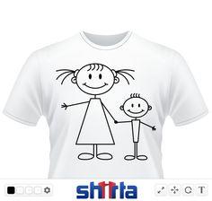 große Schwester, Bruder, Mädchen, Junge, Strichmännchen, lächelnd, glücklich, Geschwister, Arm in Arm, lustig