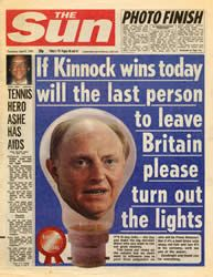 Image from The Sun, 9 April 1992