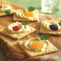 Berry and Hummus-Topped Wheat Crackers from Smucker's®