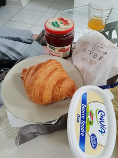 #croissant from the local bakery on #LaRocheDerrien. How do you eat yours? With or without butter? With or without Jam? Margaret chose with both this morning! #holidayswithcare #supportedholidays #respitebreaks #traveltheworld #assistedholidays #france #nodietshere