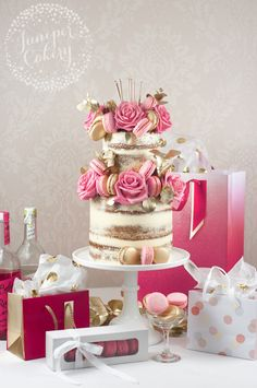 INSPO - Pink and gold macaron naked cake by Juniper Cakery Pretty Cakes, Beautiful Cakes, Amazing Cakes, Happy Birthday Cakes, Birthday Cake Girls, 19th Birthday, Birthday Ideas, Birthday Parties, Pink Dessert Tables
