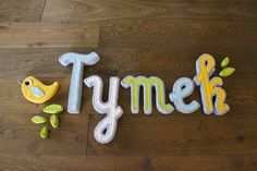 Handcraft handmade baby letters ecie-plecie. Aqua yellow white grey green baby room. https://www.facebook.com/ecieplecie