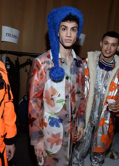 Backstage Moschino FW15/16 Menswear Fashion Show. I'm on the fence about the clothing but I know I like the diversity of the models.
