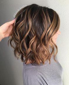 Balayage brown to caramel hair