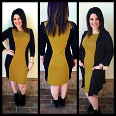 Gorgeous sweater dress with slimming 'hourglass' shaped side panels. Wear as is with booties but also very easy to layer with vests and cardigans $82 S-M-L (fits true to size, thankfully not one of those super duper tight fitting sweater dress)