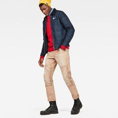 This is a modern and sustainable take on workwear designed for our Uniform of the Free Capsule. G Star Raw, Work Wear, Khaki Pants, Bomber Jacket, Beige, Classic, Fitness, Model, How To Wear
