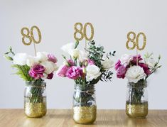 birthday centerpieces centerpieces birthday party birthday decor gold birthday party decorations party decor excited to share this item from my etsy shop birthday party straws 80th Birthday Party Decorations, 90th Birthday Parties, Graduation Centerpiece, Baptism Centerpieces, 30th Party, Baptism Decorations, Gold Centerpieces, 70th Birthday Party Ideas For Mom, Party Party