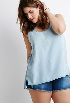 Top Chambray | Forever 21 Plus - 2000077536