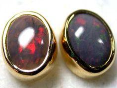 SUNSET RED JELLY FLASH BLACK OPAL 18K EARRING 2.2 CTS SCA238  fire opal earrings , gold opal earrings