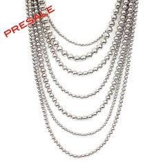 "As seen on ShopDesignSpark.com  -7 Layers of triple electroplated silver beads on base metal  -15""Long, 3""Extension  -Imported      **PRESALE. Will ship between March 15-22, 2013**"