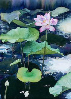 Watercolor by Sattha Homsawat (LaFe): Watercolor by LaFe 3 Watercolor Landscape, Watercolor Flowers, Watercolor Paintings, Watercolors, Koi, Lotus Painting, Lotus Art, Indian Art Paintings, Watercolor Techniques