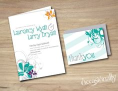 Destination Wedding Tropical Hibiscus, Teal, Pink, Purple & Grey, Wedding Program Booklet & Thank You card