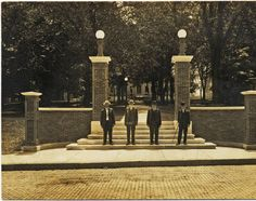 Class of 1862 alumni at the 1912 Class Gateway.Gift of the Class of 1912, the Gateway and brick path led across College Green between Manasseh Cutler Hall and East Union Street.  :: Ohio University Archives
