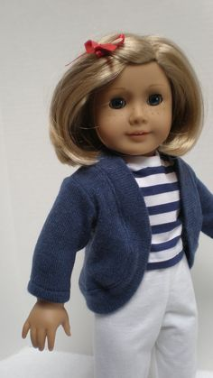 SHORT SLEEVE SHIRT (Navy & White Striped) American Girl 18 inch doll