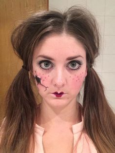 Broken China Doll make-up for Halloween.