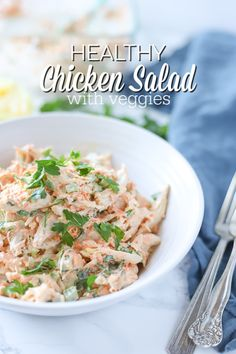 Healthy Chicken Salad Recipe is made from whole food ingredients, can be made ahead of time, makes the perfect on the go meal, and loaded with veggies. Healthy Chicken Salad Recipe is a classic recipe loaded with veggies. Can Chicken Recipes, Healthy Chicken, Whole Food Recipes, Free Recipes, Soup Recipes, Canned Chicken, Healthy Salad Recipes, Kitchen Recipes, Easy Dinner Recipes