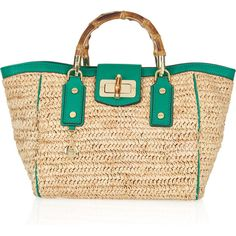 Milly Leather-trimmed woven raffia tote ($175) ❤ liked on Polyvore featuring bags, handbags, tote bags, purses, bolsas, borse, beige handbags, man bag, beige purse and top handle handbags