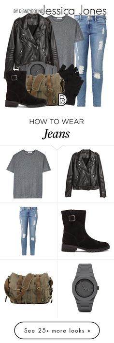 """Jessica Jones"" by leslieakay on Polyvore featuring Frame Denim, T By Alexander Wang, H&M, CC, Elyse Walker Los Angeles, women's clothing, women's fashion, women, female and woman"