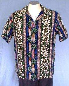 RJC Multi-Color Large Hawaiian Shirt Floral Surfboards Tribal Geometric Vintage #RJC #Hawaiian