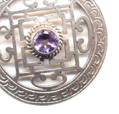 Sterling Silver Mandala, Nepal Mandala, Buddhist Necklace,Tibet Mandala Necklace, Amethyst Mandala, Handmade Nepal Jewelry by AnnaArt72 by Annaart72 on Etsy https://www.etsy.com/listing/169360967/sterling-silver-mandala-nepal-mandala