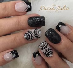 Henna Nails, Gel Nails, Acrylic Nails, Pretty Toe Nails, Cute Nails, Nail Art Hacks, Nail Art Diy, Finger Art, Makeup 101