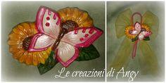 Farfalla in gesso decorata con colori perlati...