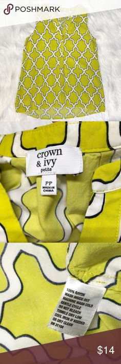 Crown & Ivy bright pop pattern summer tank Petite Fun top that my daughter outgrew. Nice alternative to a tank top that is cool and comfy and still 'nicer' 2 button closure . Not too thin, soft. Total length 22 inches back 2 inches longer. Bust 16 inches. Great used condition. She wore when in an XS. Tag says PP Posh doesn't have that so I listed as XSP. No trades, offers welcome. Smoke free home & we have a small spaniel (but we don't let her wear our clothes 😂) Color is accurate in pics…