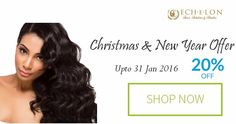 #Christmas and #NewYear offer up to 31st Jan,2016 Flat 20% off on any product of your choice. Shop now @ echelonhair.com  #HairExtensions #IndianHair #VirginHair #Fashion #MakeOver