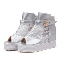 59.52$  Watch here - http://aliznb.worldwells.pw/go.php?t=32367664863 - New Wedges Boots Fashion Zip  Women's High-heeled Platform  Ankle Boots Peep Toe Summer  High Heels 8cm Shoes For Women 59.52$