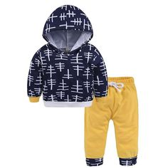 """Harem Hoodie Outfit """"Blue & Gold Shapes"""""""