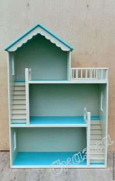 Custom Dollhouse Doll House 3 story with stairs and gingerbread Cardboard Dollhouse, Wooden Dollhouse, Cardboard Crafts, Diy Dollhouse, Barbie Furniture, Dollhouse Furniture, Kids Furniture, Doll House Plans, Toy House
