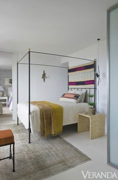 Colorful Turkish textiles brighten the guest bedroom.