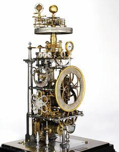 Horloge astronomique à planétaire made by Paul Pouvillon around 1930 Steampunk, Skeleton Clock, Mechanical Clock, Cool Clocks, Sundial, Cool Technology, Antique Clocks, Dieselpunk, Cool Stuff