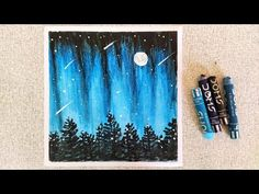 Beautiful Night Sky scenery drawing with Oil Pastels for beginners-step by step- Oil Pastel Drawings, Easy Drawings, Oil Pastels, Night Skies, Scenery, Sky, Make It Yourself, Youtube, Beautiful
