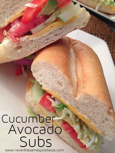 Cucumber Avocado Subs   www.neverthesamespicetwice.com   #cucumber #avocado #sandwich