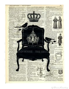 french chair art print with antique book page over 100 years old