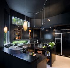 The 21 Coolest Things To Do With A Kitchen - how about a Beautiful Black Kitchen!