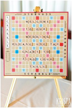 Seating plan of Scrabble – Wedding Details © 2012 Krista Guenin / Krista Photography … Reception Seating Chart, Reception Games, Seating Plan Wedding, Seating Charts, Seating Plans, Table Seating, Board Game Wedding, Wedding Table Games, Our Wedding