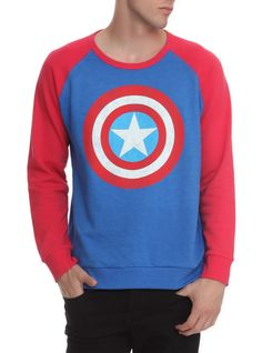 Blue+crewneck+sweatshirt+with+red+sleeves+and+a+distressed+Captain+America+logo.