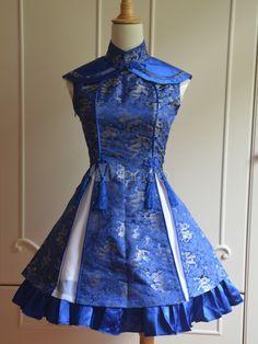 Sweet Blue Lace up Sleeveless Satin Lolita Dress - Lolitashow.com