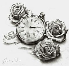 Roses and pocket watch tattoo | Tattoo flash | Pinterest | Births ...