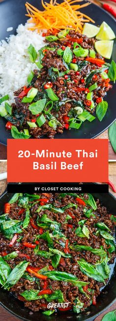11 Thai Recipes That Are Way Better Than Takeout Want to make your own pad Thai or give a Thai red curry recipe a try? We've got a list of the best Thai dishes and easy dinner recipes you can make at home. Thai Cooking, Asian Cooking, Cooking Steak, Cooking Broccoli, Cooking Bacon, Thai Basil Beef, Thai Basil Recipes, Thai Beef Salad, Recipes With Fresh Basil