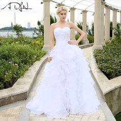 ADLN 2017 In Stock Corset Wedding Dresses Ivory White Robe de Mariee  Organza Beaded Ruffled Plus 251eb774e43e
