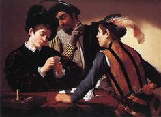 The Cardsharps – one of Caravaggio's best-loved and most famous paintings. – Michelangelo Merisi da Caravaggio (1571-1610) was an Italian painter active in Rome, Naples, Malta, and Sicily between 1592 (1595?) and 1610. His paintings, which combine a realistic observation of the human state, both physical and emotional, with a dramatic use of lighting, had a formative influence on Baroque painting.