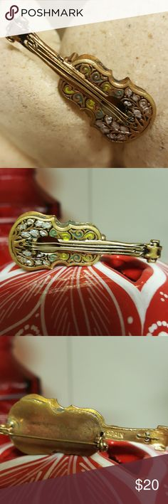 Vntg Guitar Gold Tone with Strings Brooch Spain Vntg Guitar Gold Tone with Strings Brooch Spain Vintage Jewelry Brooches